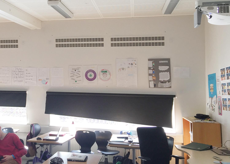 MicroVent ventilationssystem indendørs på Birkerød Privatskole