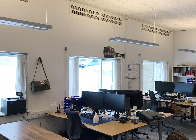 MicroVent ventilation i åbent kontor på Høvelte Kaserne