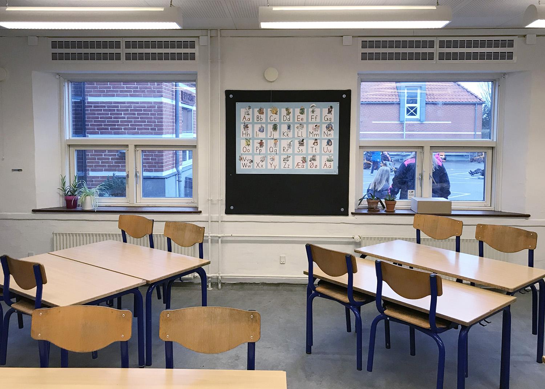 MicroVent ventilation i klasselokale på Køge Bugt Privatskole