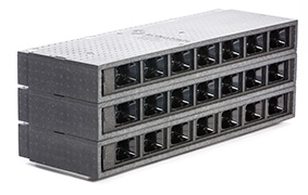 Lange MicroVent ventilationsenheder med 7 sluser ovenpå hinanden