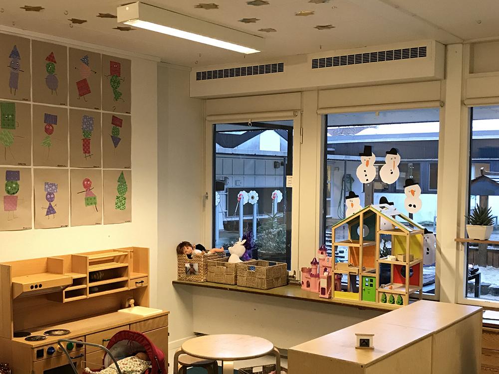 MicroVent ventilation i legerum i Børnehuset Rosengården