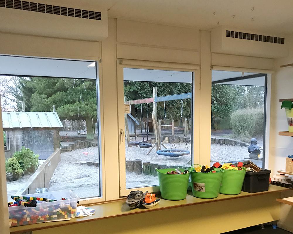 MicroVent ventilation i fællesrum i Børnehuset Rosengården