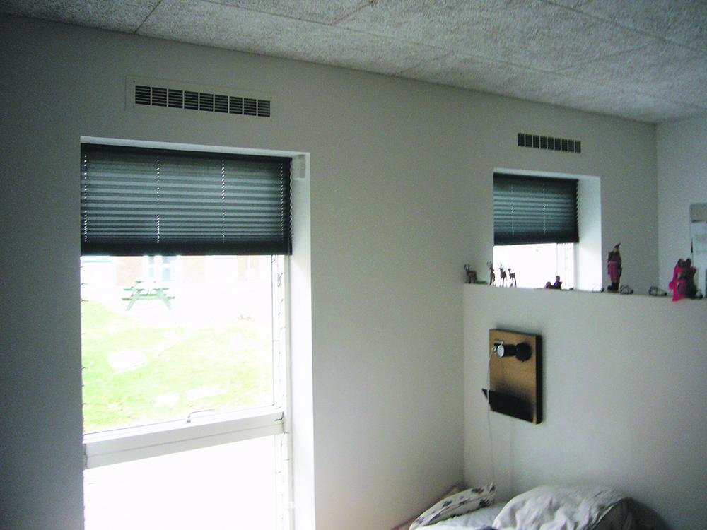MicroVent ventilation på værelserne på Dronninglund Efterskole