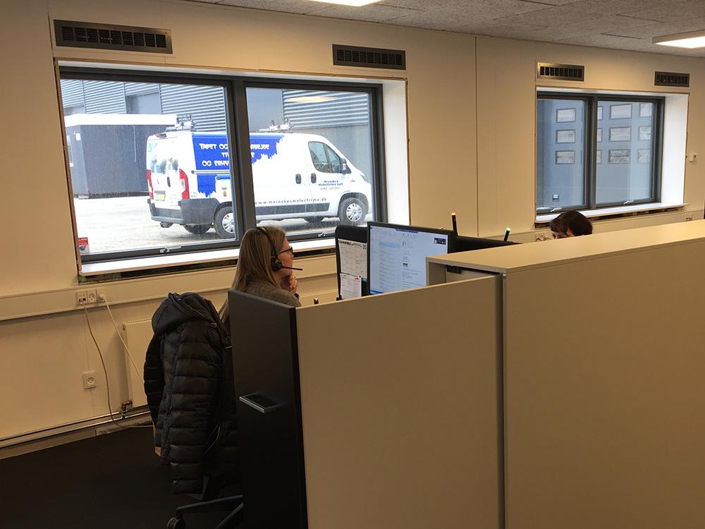MicroVent ventilation på kontor i GSV Materieludlejning